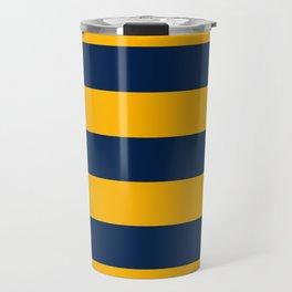 Slate Blue and Golden Yellow Stripes Travel Mug