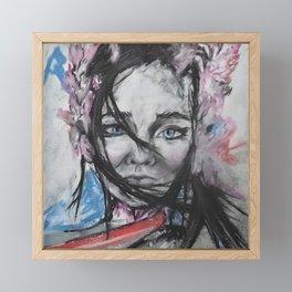 Flower Alien Girl - our beautiful Universe- original artwork by Luna Smith Framed Mini Art Print