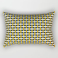White, Gold, and Navy Crisscross into Faded Red Pattern Rectangular Pillow