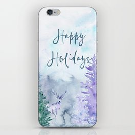 Watercolor Happy Holidays Winter Wonderland iPhone Skin