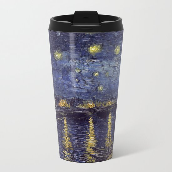 Vincent Van Gogh Starry Night Over The Rhone Metal Travel Mug