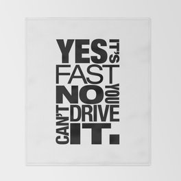 Yes it's fast No you can't drive it v6 HQvector Throw Blanket