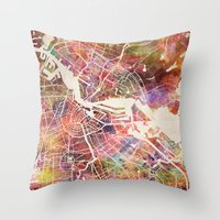 amsterdam Throw Pillows featuring Amsterdam by MapMapMaps.Watercolors