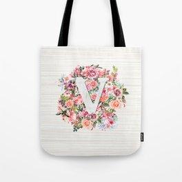 Initial Letter V Watercolor Flower Tote Bag