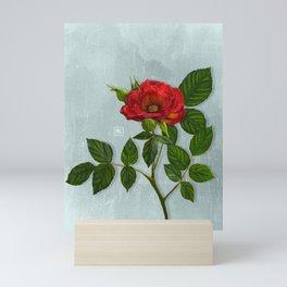Rouge, Red and teal. Botanical illustration Mini Art Print