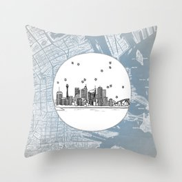 Sydney, New South Wales, Australia City Skyline Illustration Drawing Throw Pillow