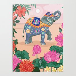 Elephant and Lotus Flowers Poster
