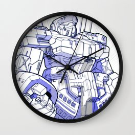 Blue Mecha Wall Clock