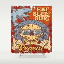 EAT SLEEP SURF - Hang Loose Shower Curtain