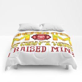 Thin Red Line Firefighter Mom Fireman Professional Firefighter Hero I Raised Mine Comforters