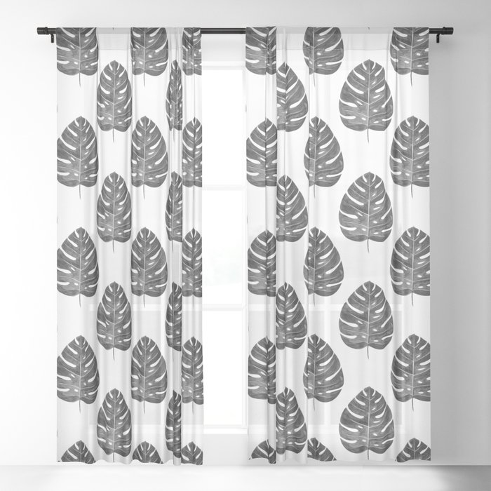 Monstera Leaf   Black and White Sheer Curtain