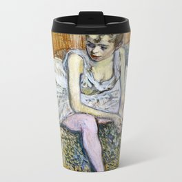 Henri De Toulouse Lautrec - A Seated Dancer With Pink Stockings Metal Travel Mug