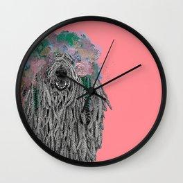 Dredlock Dog (Pastel Red Edition) Wall Clock