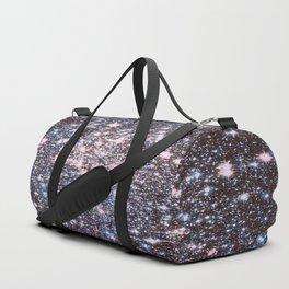 Mauve Pink Blue Silver Sparkle Stars Duffle Bag