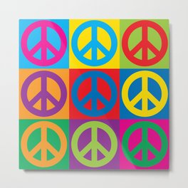 Pop Art Peace Symbols Metal Print