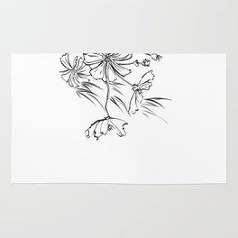 Cosmos Flowers Ink Drawing Rug