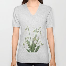 white snowdrop flower watercolor Unisex V-Neck