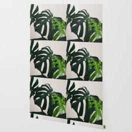 Minimalist Mid Century Scandinavian Style House Plant Mostera Green Leaf Zen Photo Wallpaper