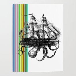 Kraken Attacking ship on Colorful Stripes Poster