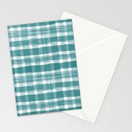 Watercolor Brushstroke Plaid Pattern Pantone Deep Lake Teal 18-4834 on White Stationery Cards