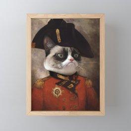 Angry cat. Grumpy General Cat. Framed Mini Art Print