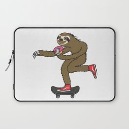 Skater Sloth loves donut Laptop Sleeve