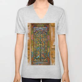 Colorful Asian Motif Style Doorway Photograph Unisex V-Neck