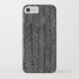 Herringbone Cream on Black iPhone Case
