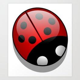 Ladybug, Ladybird, Lady Beetle - Black Red White Art Print