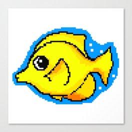 8-Bit Pixel Art Yellow Tang Tropical Fish Canvas Print