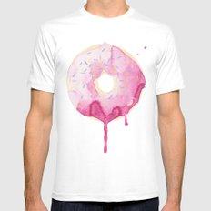 Glazed Pink Donut White Mens Fitted Tee MEDIUM