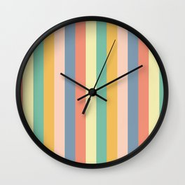Retro Stripes Gold Blue Green Red Wall Clock