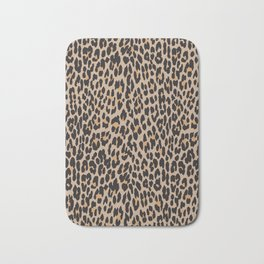 Animal Print, Spotted Leopard - Brown Black Bath Mat