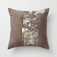 cartoons Throw Pillows featuring Saturday Morning Cartoons 1: Homebody by Kayleigh Morin
