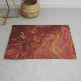 Fluid Nature - The Heat of Flames - Abstract Acrylic Pour Art Rug