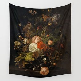 Rachel Ruysch - Flowers in a glass vase, on a stone table Wall Tapestry