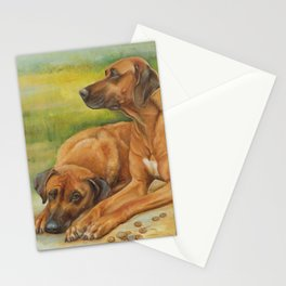 Rhodesian Ridgeback Dog portrait in scenic landscape Painting Stationery Cards
