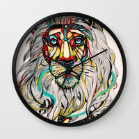 lions Wall Clocks featuring Lion by Felicia Atanasiu