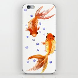 Goldfish, two fish, Koi Asian Style watercolor art, feng shui iPhone Skin