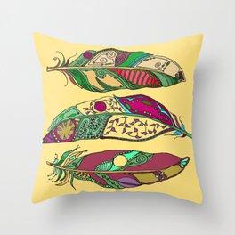 Bohemian Feathers on Honey Yellow - Hand-drawn Illustration Throw Pillow