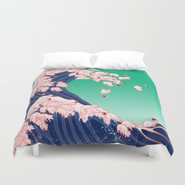 Christmas Baby Pigs The Great Wave Duvet Cover