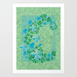 Frame from abstract blue flowers with background Art Print