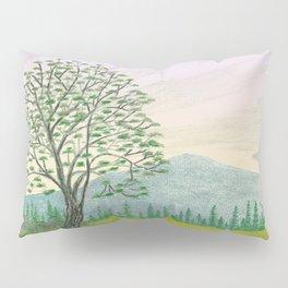 OREGON ASH TREE IN SPRINGTIME VINTAGE PENCIL COLOR DRAWING Pillow Sham