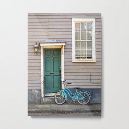 Turquoise Bike Metal Print