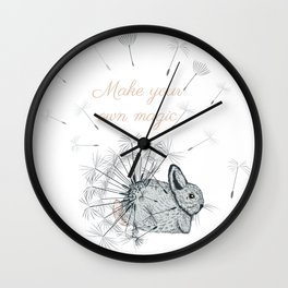 Cute little bunny with dandelions  Wall Clock