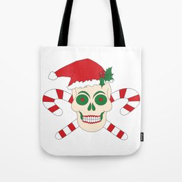 Creepy Christmas Santa Skull Tote Bag