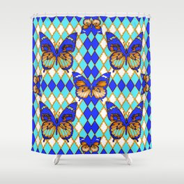 ARGYLE ABSTRACTED  BROWN SPICE  MONARCHS BUTTERFLY & BLUE-WHITE Shower Curtain