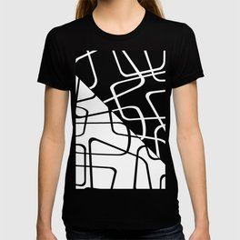 Mid Century Reflections - Black and white abstract T-shirt