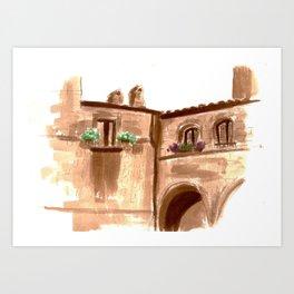 Viterbo Windows - 5 Art Print