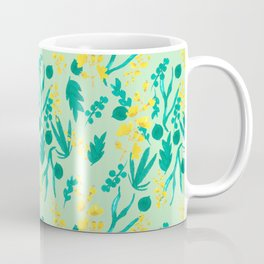 Watercolor flowers on green background Coffee Mug